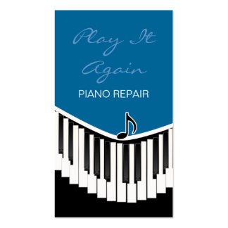 Piano Music Blue Business Card