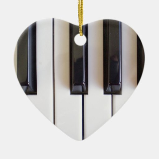 Piano Music Double-Sided Heart Ceramic Christmas Ornament
