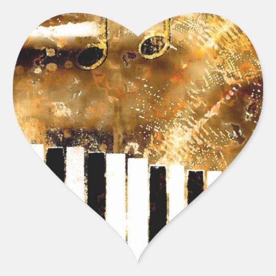 Piano Music Heart Sticker