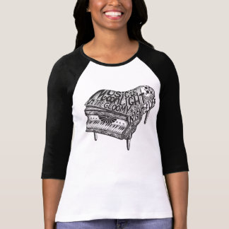 Piano Music Illustration Ladies Fitted T-shirts
