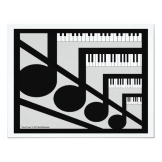 """Piano Music Invitation 4.25"""" X 5.5"""" Invitation Card"""