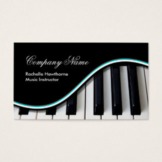 Piano Music Keys Business Cards ~ teal