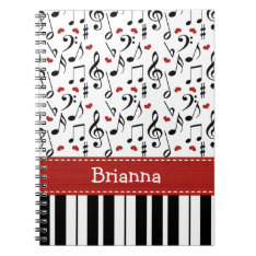 Piano Music Note Spiral Notebook Journal at Zazzle