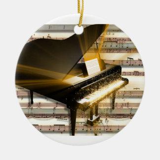 piano_music_notes adorno navideño redondo de cerámica