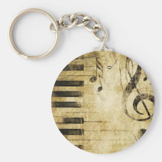 Piano Music Notes Basic Round Button Keychain