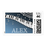 Piano Music Silver and Blue Stamp