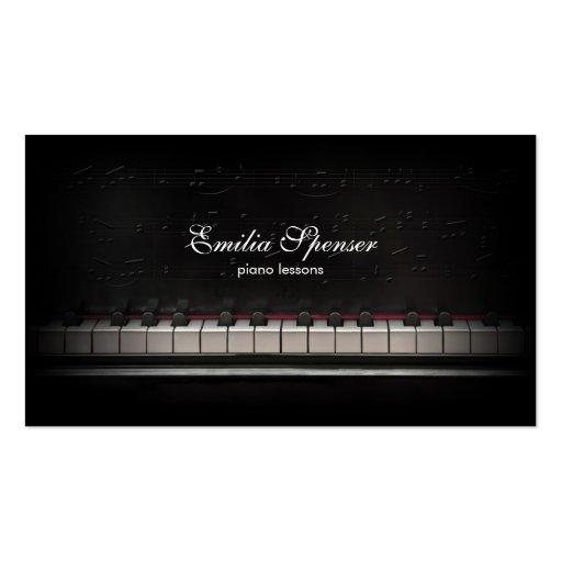Piano Music Teacher Black Business Card