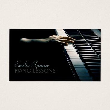 Professional Business Piano Music Teacher Black Business Card