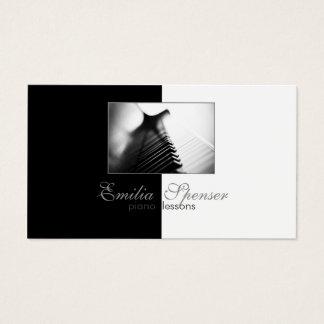 Piano Music Teacher Black & White Business Card