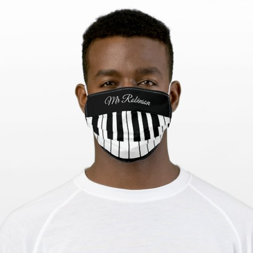 Piano Music Teacher  Personalized Name Adult Cloth Face Mask