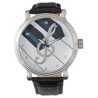Piano musical symbol wrist watch