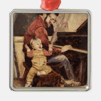 Piano Musician Father and Son Metal Ornament