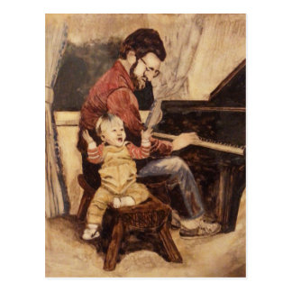 Piano Musician Father and Son Postcard