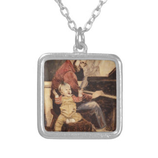 Piano Musician Father and Son Silver Plated Necklace