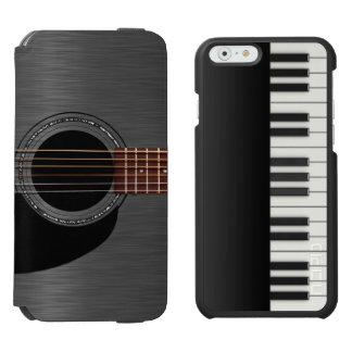 Piano negro de la guitarra combinado funda cartera para iPhone 6 watson