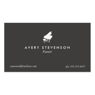 Piano negro elegante y simple del pianista tarjetas de visita