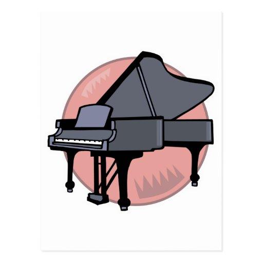 piano negro tarjetas postales