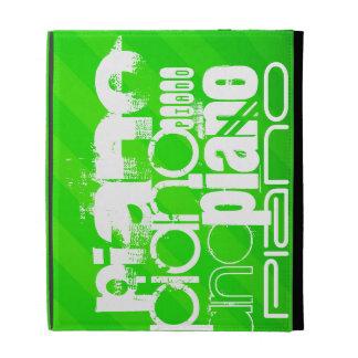 Piano; Neon Green Stripes. iPad Folio Cases