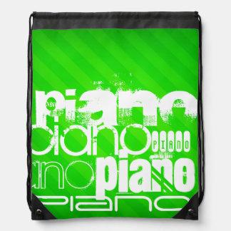Piano; Neon Green Stripes. Drawstring Bag