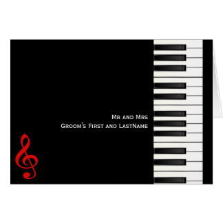 Piano Note Card, Mr and MrsGroom's First and La... Card
