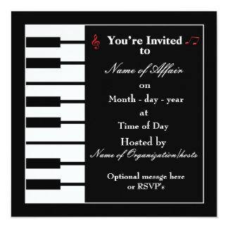 Piano note invitation card invitation