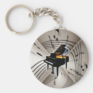 Piano Notes and Staff Basic Round Button Keychain