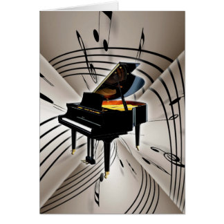 Piano Notes and Staff Greeting Card