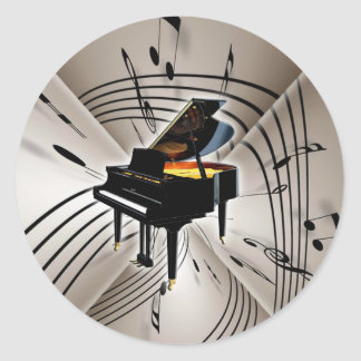 Piano Notes and Staff Classic Round Sticker