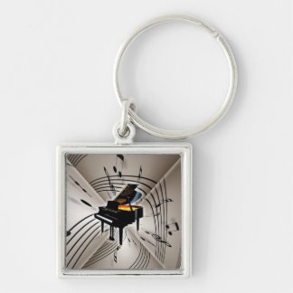 Piano Notes and Staff Silver-Colored Square Keychain
