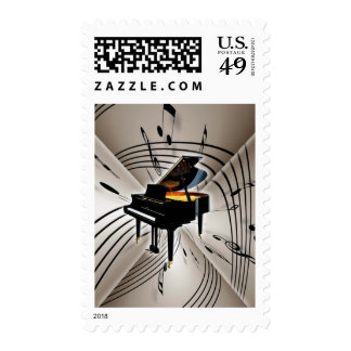 Piano Notes and Staff Postage Stamps