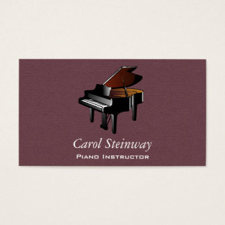 Piano on Burgundy Faux Flannel Business Card