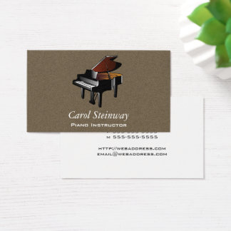 Piano on Tobacco Faux Flannel Business Card