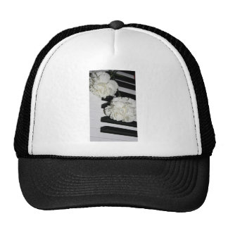 Piano or Organ Keyboard and White Carnations Trucker Hats