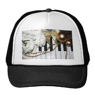 Piano or Organ Keyboard and White Carnations Trucker Hat