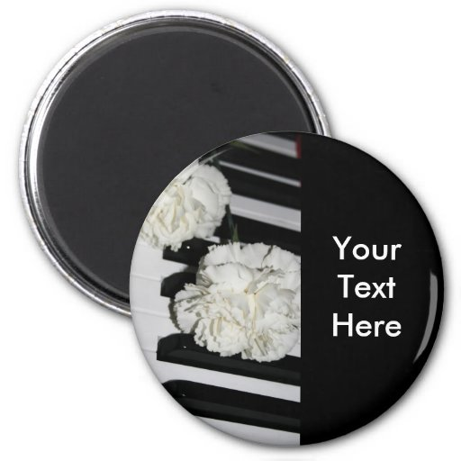 Piano or Organ Keyboard and White Carnations Magnet