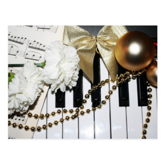 Piano or Organ Keyboard and White Carnations Postcard