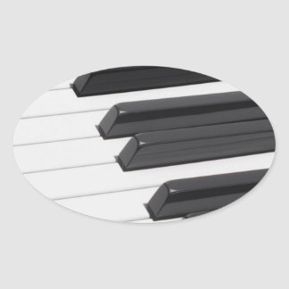 Piano or Organ Keyboard Keys Oval Sticker