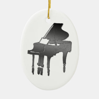 piano Double-Sided oval ceramic christmas ornament
