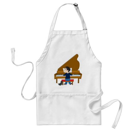 Piano Player and Dog Adult Apron