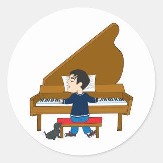 Piano Player and Dog Classic Round Sticker