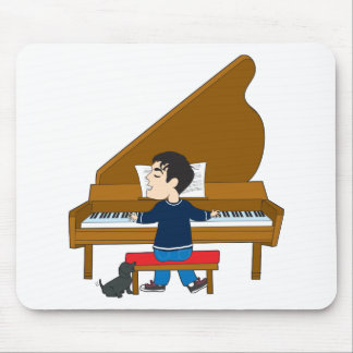 Piano Player and Dog Mousepads