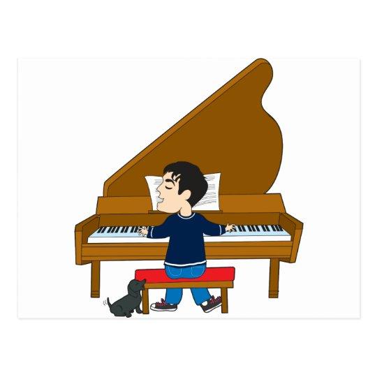 Piano Player and Dog Postcard