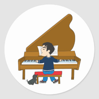 Piano Player and Dog Stickers