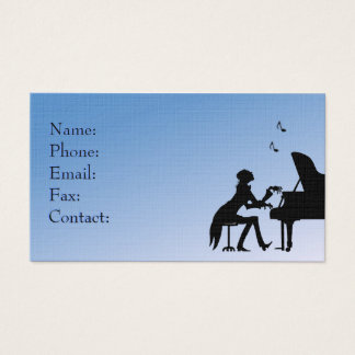 Piano Player Blue Business Card