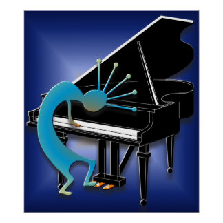 Piano Player in Midnight Blue Poster