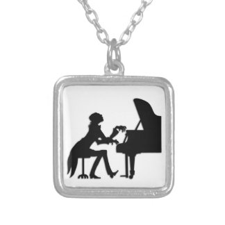 Piano Player Silver Plated Necklace