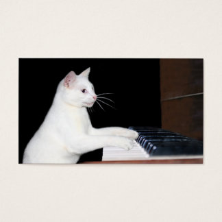 Piano playing cat business card