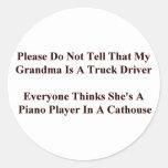 Piano Playing Grandma Round Sticker