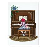 Piano practicante del pequeño chica pelirrojo invitación 12,7 x 17,8 cm