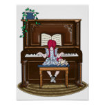 Piano practicante del pequeño chica pelirrojo poster